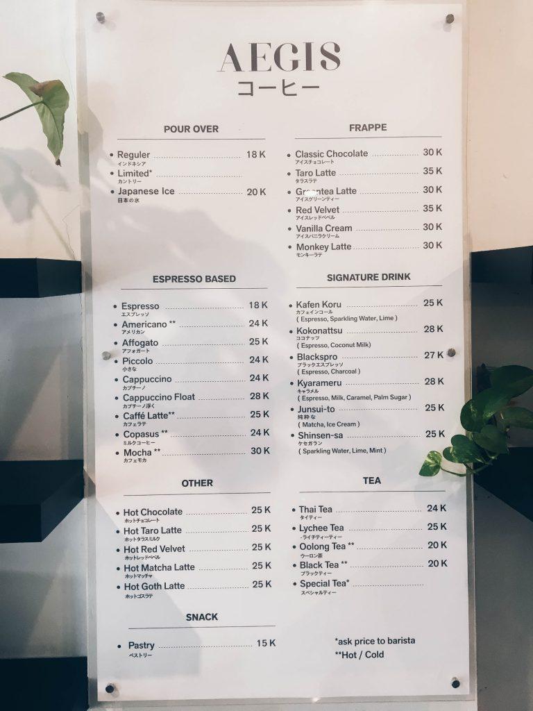 Menu dan harga di Aegis Coffee