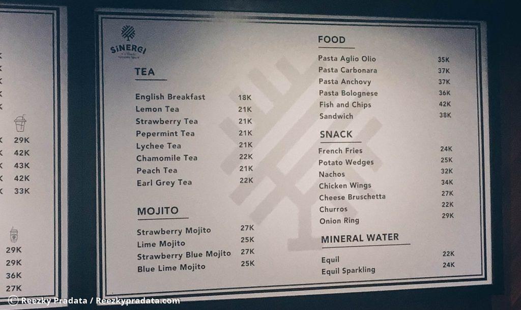 Harga Menu di Sinergi Coffee