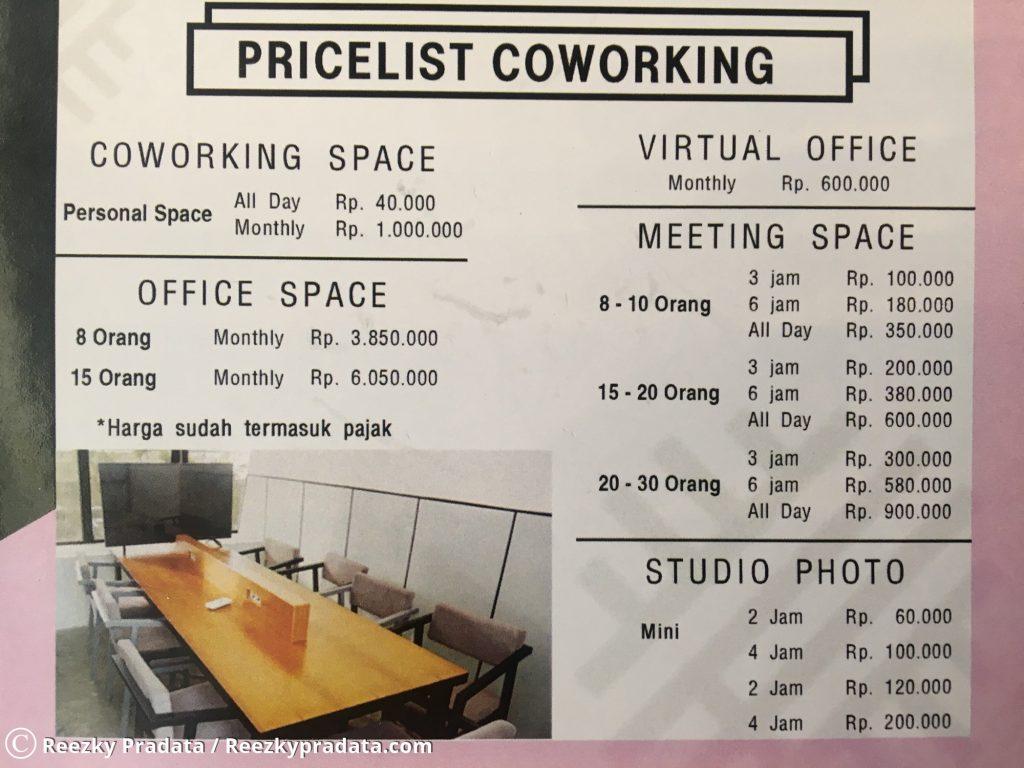 Harga sewa ruangan kantor dan meeting di Sinergi Coffee