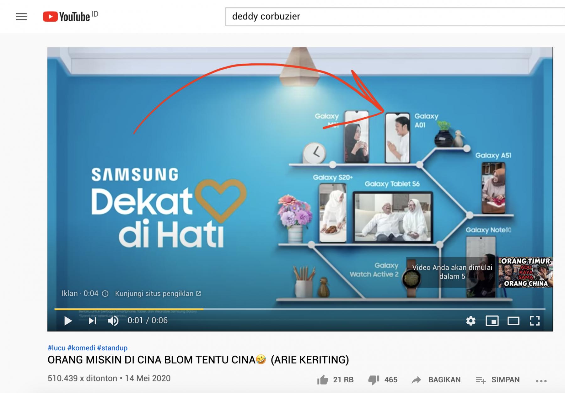 Muka Reezky di Iklan Samsung